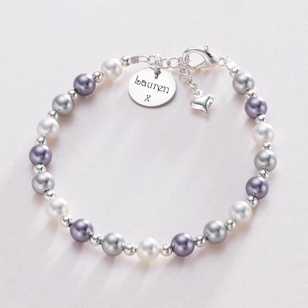 Pearl Bracelet with Engraving on Round Charm